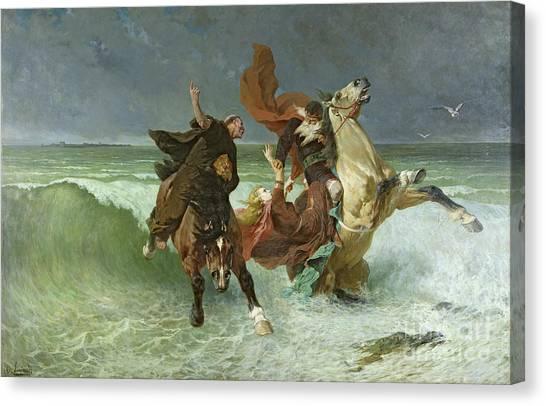 Flooding Canvas Print - The Flight Of Gradlon Mawr by Evariste Vital Luminais