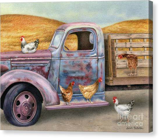 Rusty Truck Canvas Print - Where The Hens Gather  by Sarah Batalka