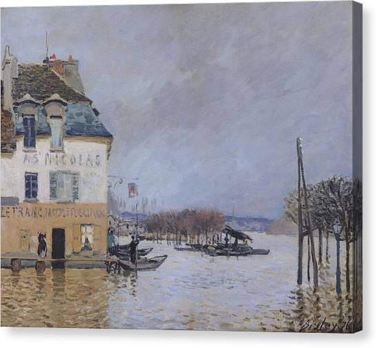 Flooding Canvas Print - The Flood At Port Marly by Alfred Sisley