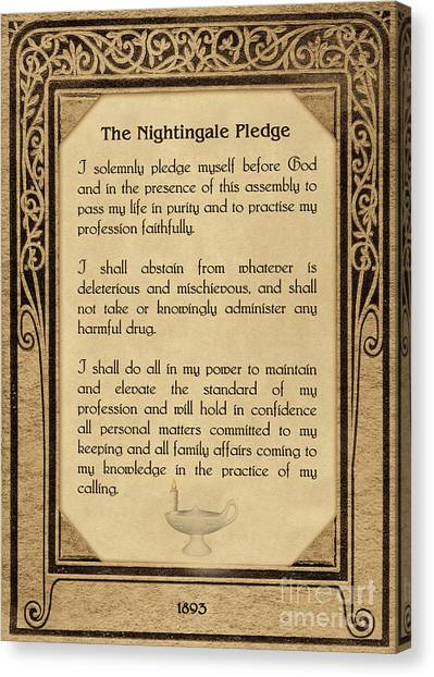 The Florence Nightingale Pledge 1893 Canvas Print