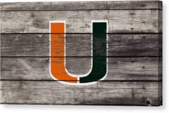 University Of Miami Canvas Print - The Miami Hurricanes 3h      by Brian Reaves