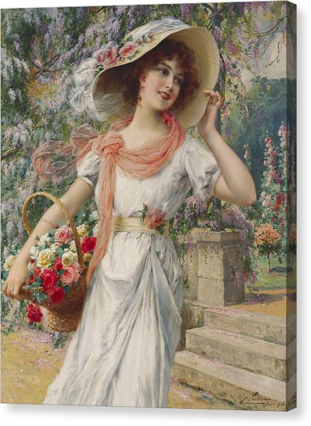 Garden Flowers Canvas Print - The Flower Girl by Emile Vernon