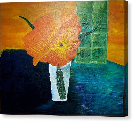 The Flowers In The Vase Canvas Print by Roy Penny