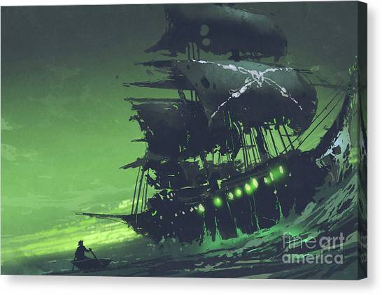 Canvas Print featuring the painting The Flying Dutchman by Tithi Luadthong