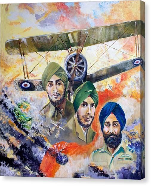 Sikh Art Canvas Print - The Flying Sikhs by Sarabjit Singh