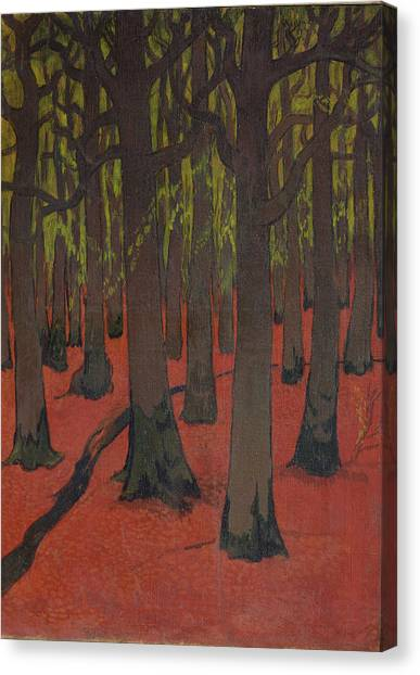 Post-impressionism Canvas Print - The Forest With Red Earth by Georges Lacombe