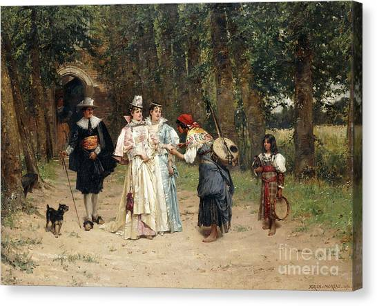 Tambourines Canvas Print - The Fortune Teller, 1878 by Adrien Moreau