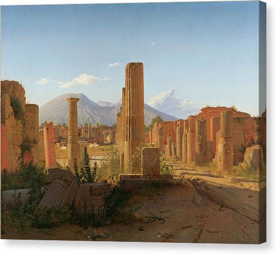 The Forum Canvas Print - The Forum At Pompeii With Vesuvius In The Background by Christen Kobke