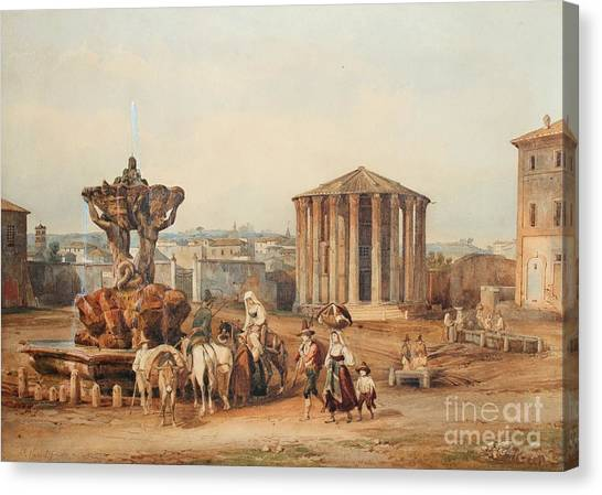 The Forum Canvas Print - The Forum Boarium And The Temple Of Vest by MotionAge Designs
