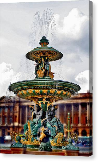 The Fountain At Le Concorde Canvas Print by Greg Sharpe