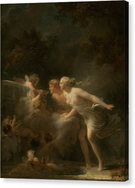 Rococo Art Canvas Print - The Fountain Of Love by Jean-Honore Fragonard