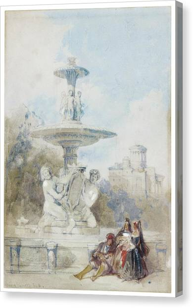 The Prado Canvas Print - The Fountain Of The Artichoke Near The Prado by David Roberts
