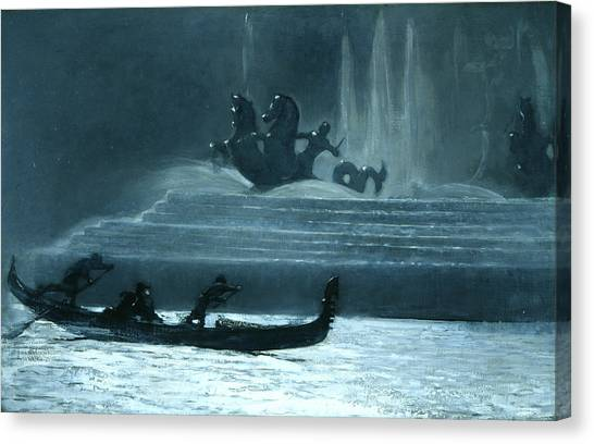 Winslow Canvas Print - The Fountains At Night, World's Columbian Exposition by Winslow Homer