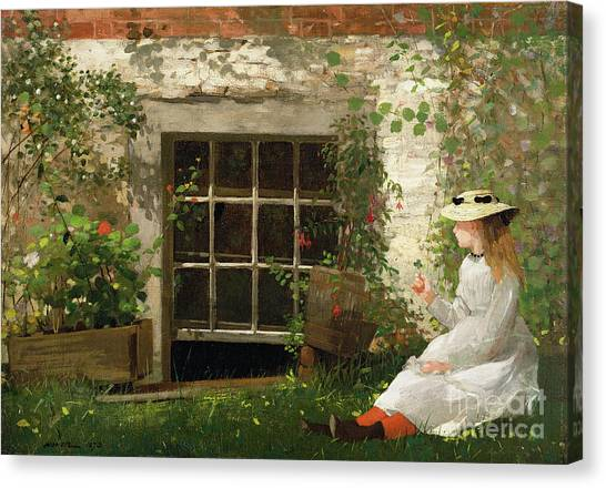 Girl Canvas Print - The Four Leaf Clover by Winslow Homer