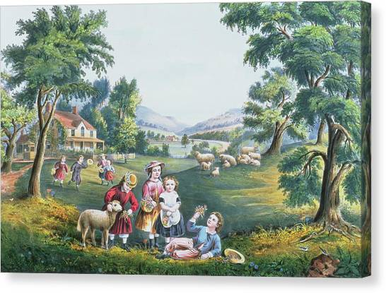 Currier And Ives Canvas Print - The Four Seasons Of Life Childhood by Currier and Ives