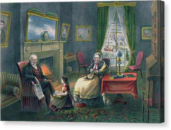 Grandpa Canvas Print - The Four Seasons Of Life  Old Age by Currier and Ives