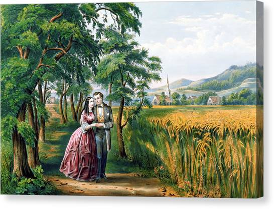 Currier And Ives Canvas Print - The Four Seasons Of Life  Youth  The Season Of Love by Currier and Ives