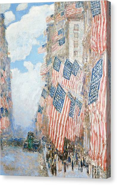 American Canvas Print - The Fourth Of July by Childe Hassam