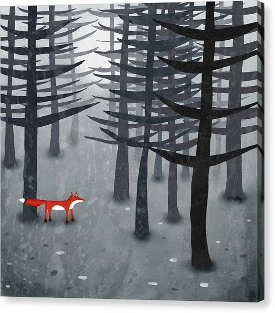 Black Forest Canvas Print - The Fox And The Forest by Nic Squirrell