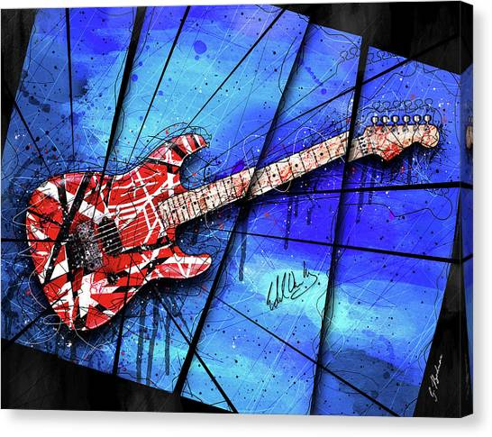 Van Halen Canvas Print - The Frankenstrat On Blue I by Gary Bodnar