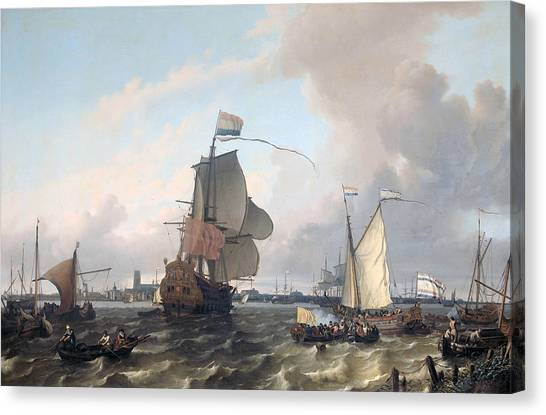 Maas Canvas Print - The Frigat Brielle On The Maas Off Rotterdam by Ludolf Bakhuizen