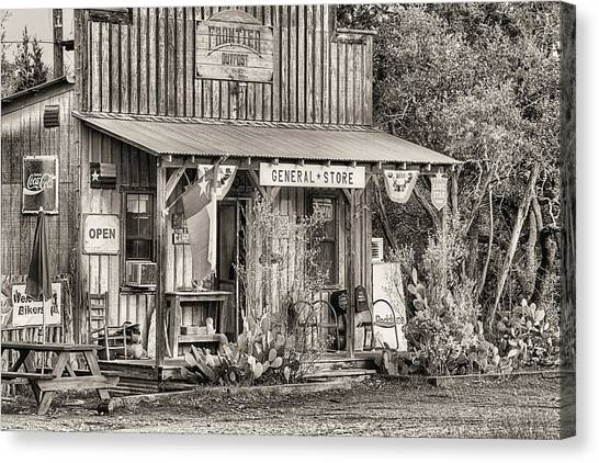 The Frontier Outpost General Store Black And White Canvas Print by JC Findley