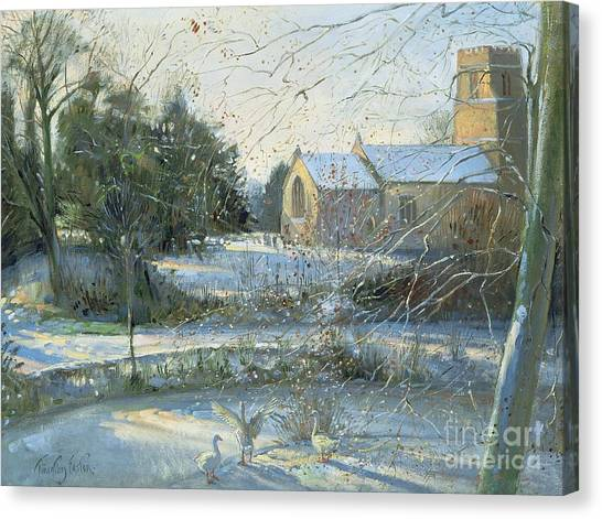 Church Yard Canvas Print - The Frozen Moat - Bedfield by Timothy Easton