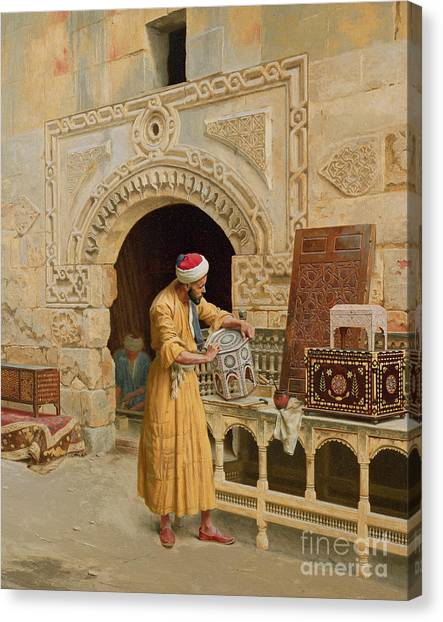 Muslim Canvas Print - The Furniture Maker by Ludwig Deutsch