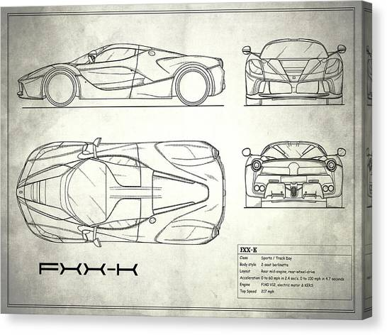 Car blueprint canvas prints page 7 of 25 fine art america car blueprint canvas print the fxx k blueprint white by mark rogan malvernweather Gallery