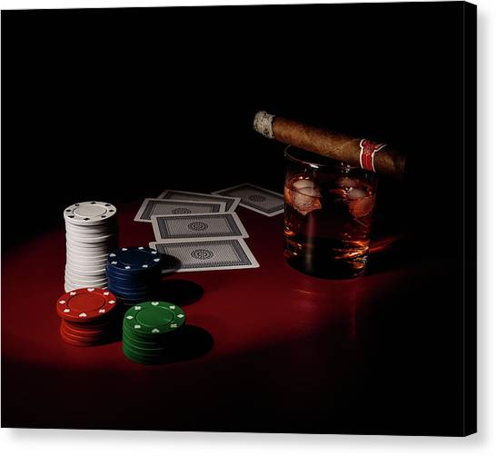 Whiskey Canvas Print - The Gambler by Tom Mc Nemar