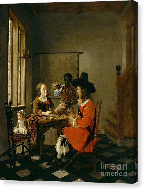 Chequered Canvas Print - The Game Of Cards by Hendrik van der Burch