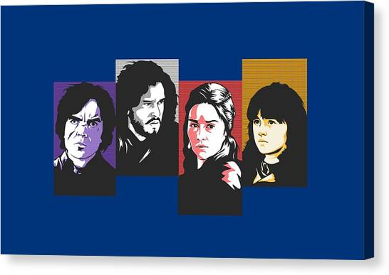 Atari Canvas Print - The Game Of Thrones My Favourite Characters 80s Style Jon Snow Khaleesi Tyrion Lannister Bran Stark by Paul Telling
