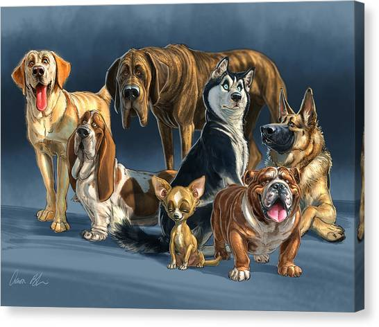 German Shepherds Canvas Print - The Gang 2 by Aaron Blaise