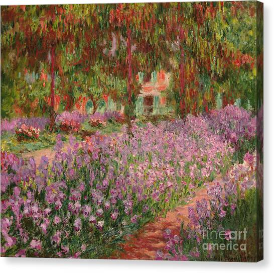 1900 Canvas Print - The Garden At Giverny by Claude Monet