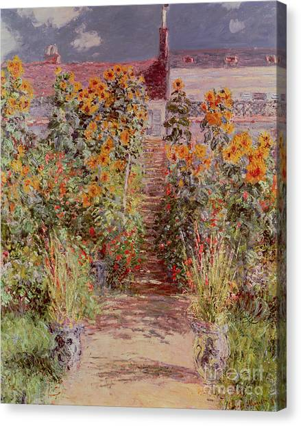 Jardin Canvas Print - The Garden At Vetheuil by Claude Monet