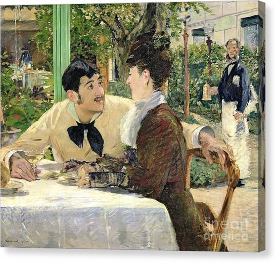 Cafes Canvas Print - The Garden Of Pere Lathuille by Edouard Manet