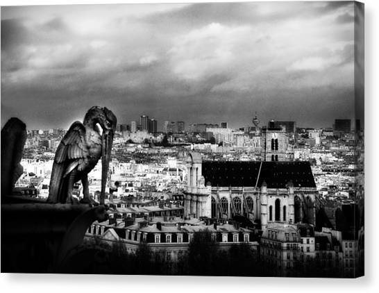 The Gargoyles Of Notre Dame Canvas Print by Cabral Stock