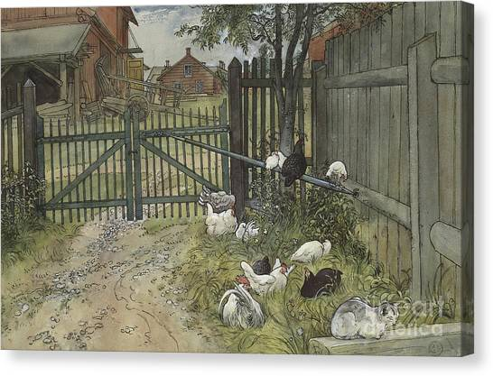 Chicken Farms Canvas Print - The Gate by Carl Larsson