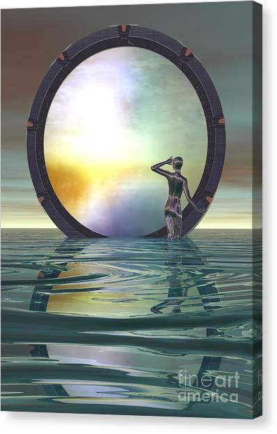 Canvas Print featuring the digital art The Gate by Sandra Bauser Digital Art