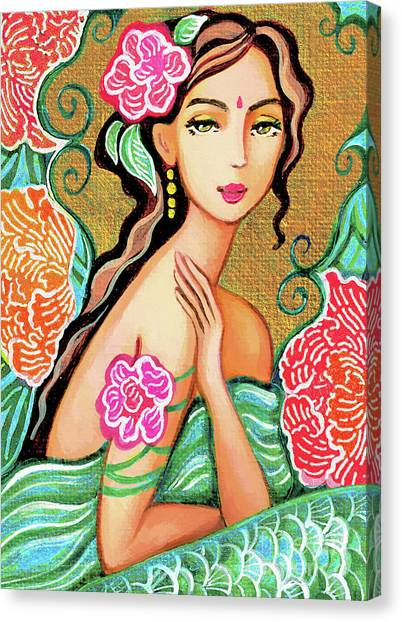 Spiritual Portrait Of Woman Canvas Print - The Gaze Of Shalini by Eva Campbell