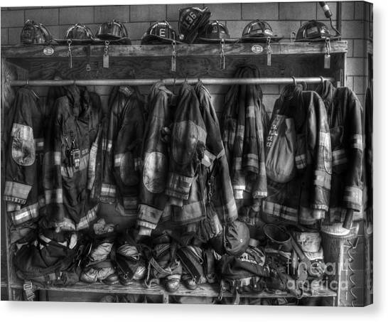 Firefighters Canvas Print - The Gear Of Heroes - Firemen - Fire Station by Lee Dos Santos