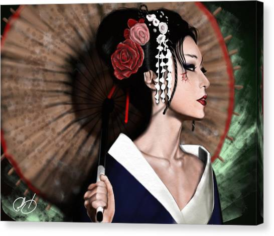 Japan Canvas Print - The Geisha by Pete Tapang