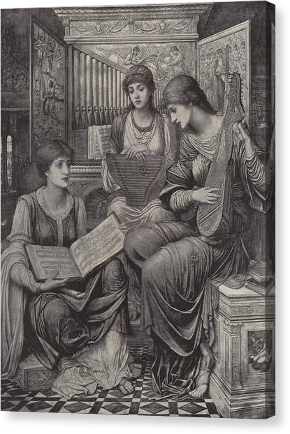 Tile Canvas Print - The Gentle Music Of The Bygone Day by John Melhuish Strudwick