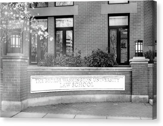 George Washington University Gwu Canvas Print - The George Washington University Law School Dc Bw by Susan Candelario
