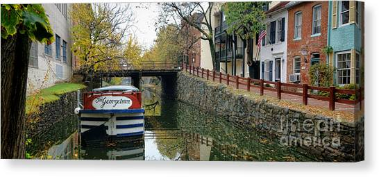 Georgetown University Canvas Print - The Georgetown Barge In Washington Dc by Olivier Le Queinec