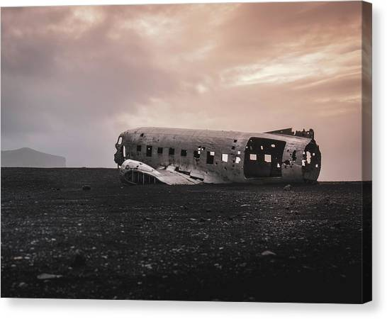 The Ghost - Plane Wreck In Iceland Canvas Print