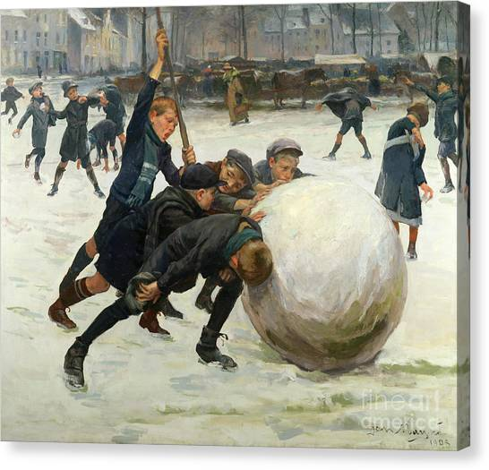 Snowball Canvas Print - The Giant Snowball by Jean Mayne