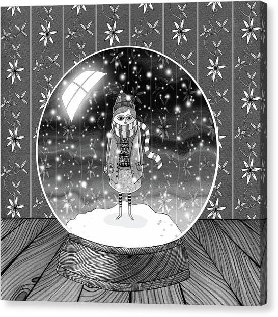 Snowflakes Canvas Print - The Girl In The Snow Globe  by Andrew Hitchen
