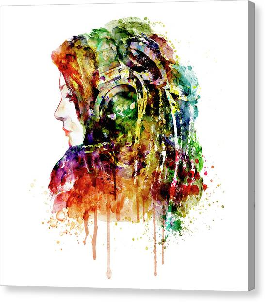 Headphones Canvas Print - The Girl Is A Dj by Marian Voicu