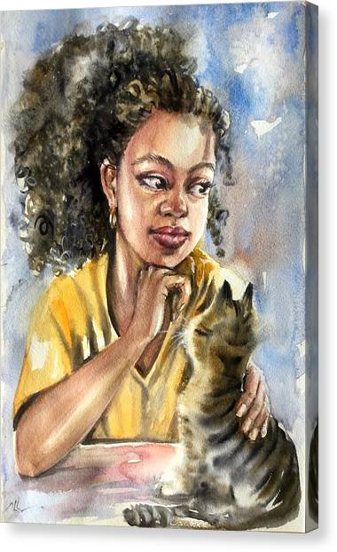 The Girl With A Cat Canvas Print